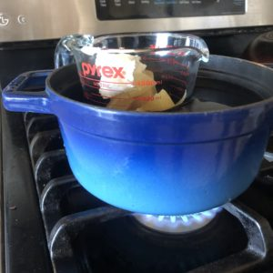 double boiler method uses a Pyrex with ingredients in a pot of boiling water